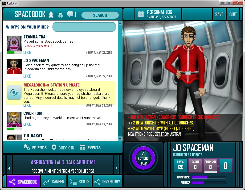 Redshirt Spacebook